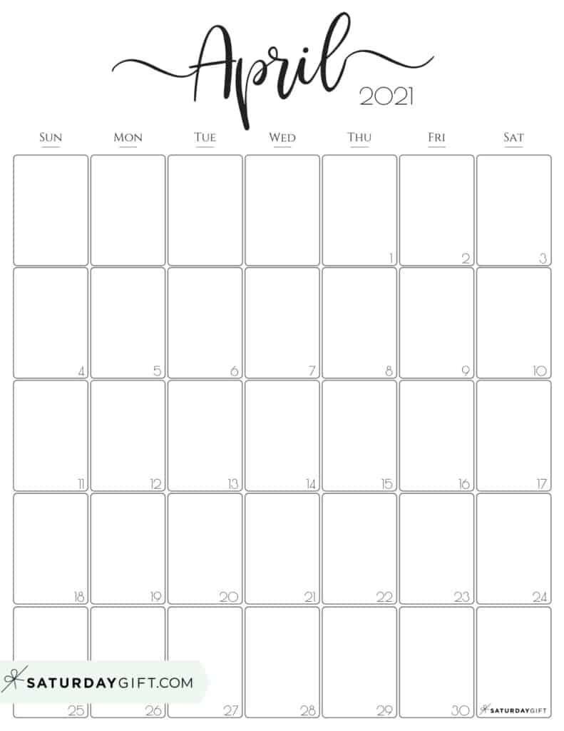 Cute (& Free!) Printable April 2021 Calendar | Saturdaygift