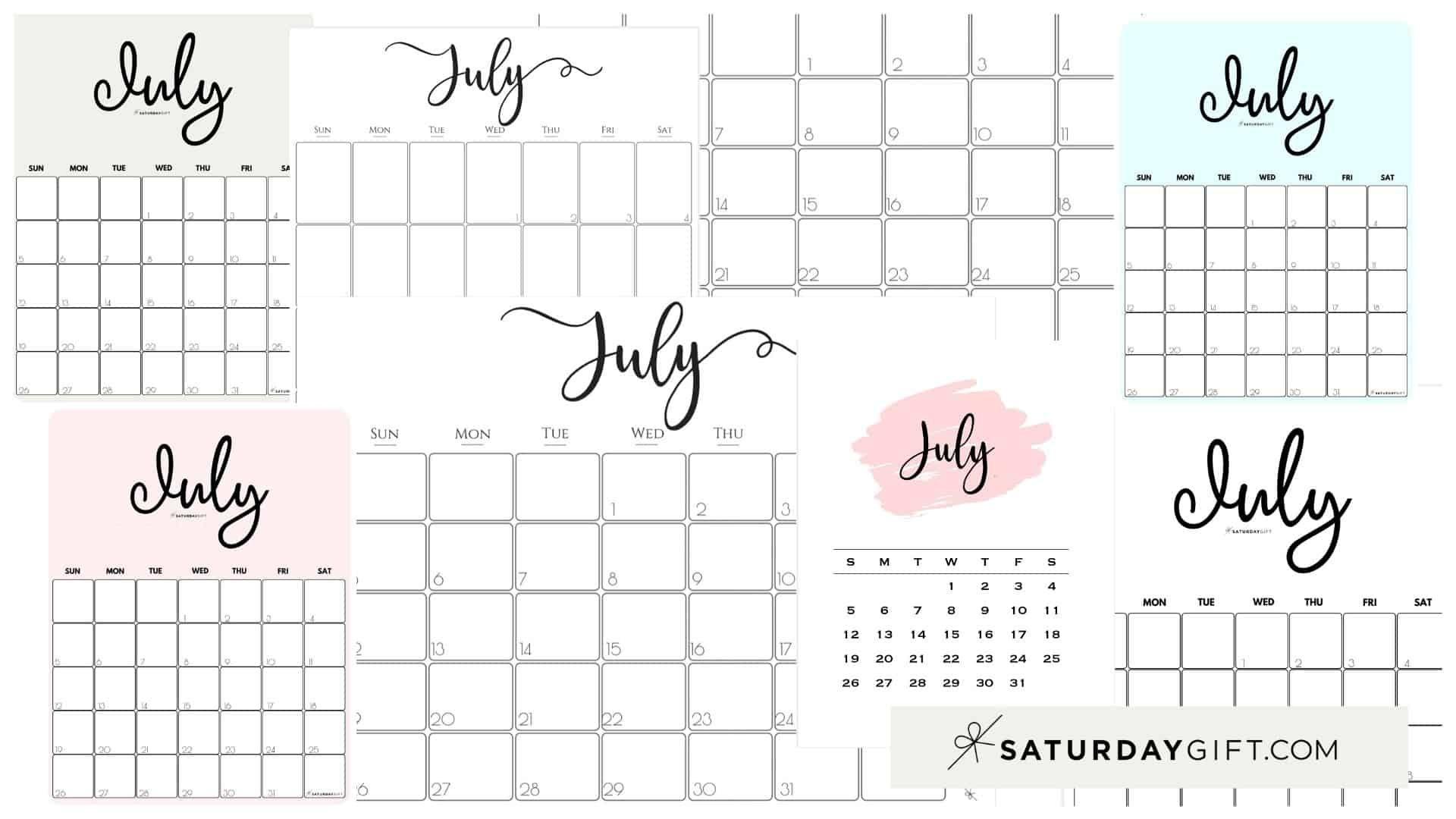 Cute (& Free!) Printable July 2020 Calendar | Saturdaygift