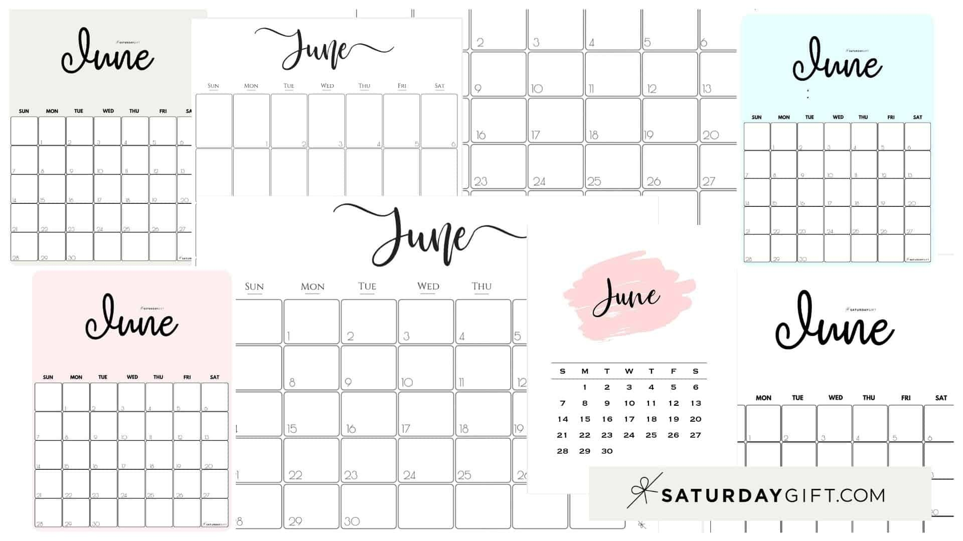 Cute (& Free!) Printable June 2020 Calendar | Saturdaygift