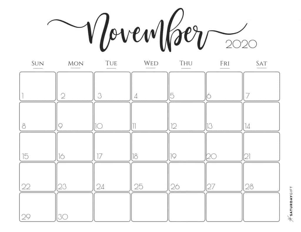 Cute (& Free!) Printable November 2020 Calendar | Saturdaygift