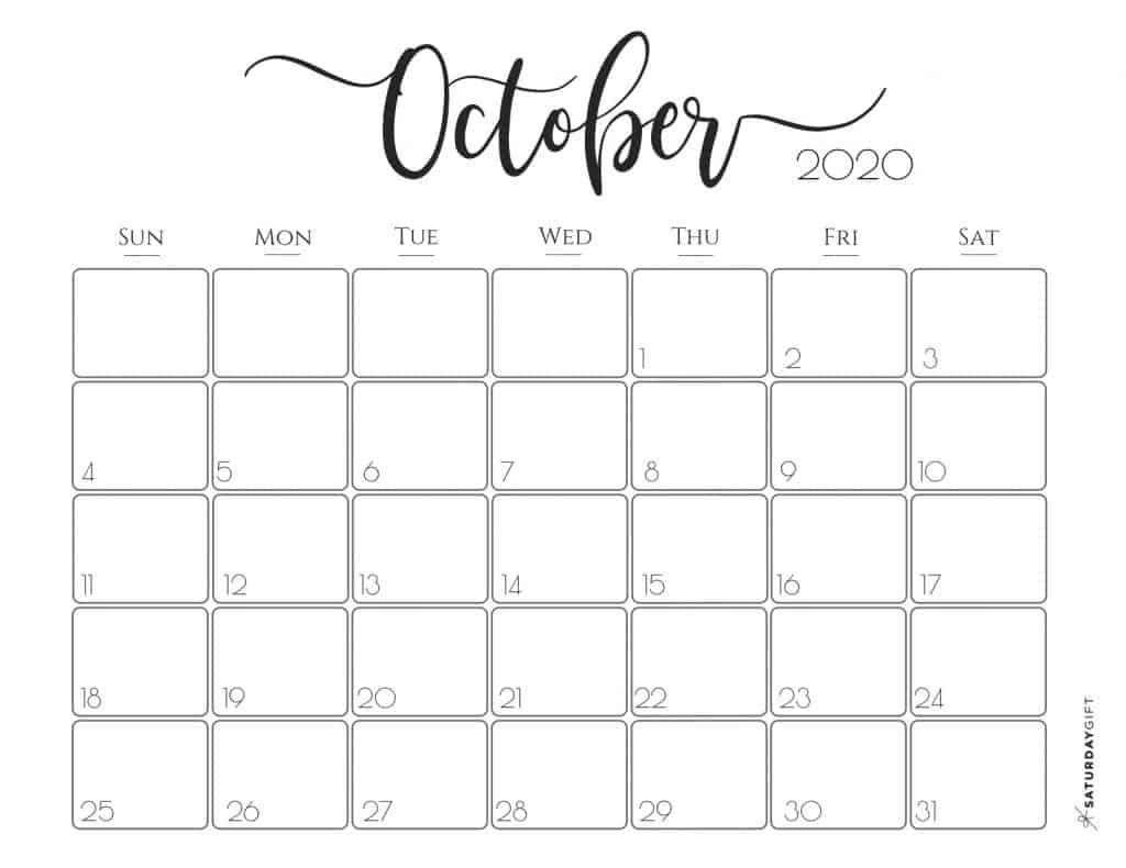 Cute (& Free!) Printable October 2020 Calendar | Saturdaygift