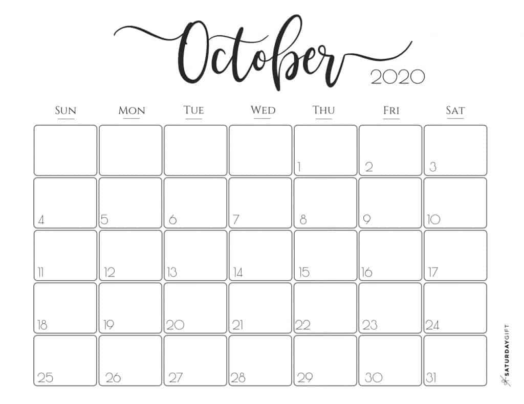 Cute (& Free!) Printable October 2020 Calendar | Saturdaygift