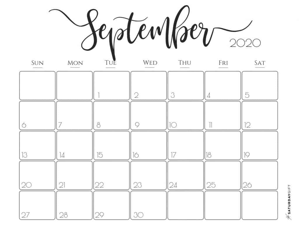 Cute (& Free!) Printable September 2020 Calendar | Saturdaygift