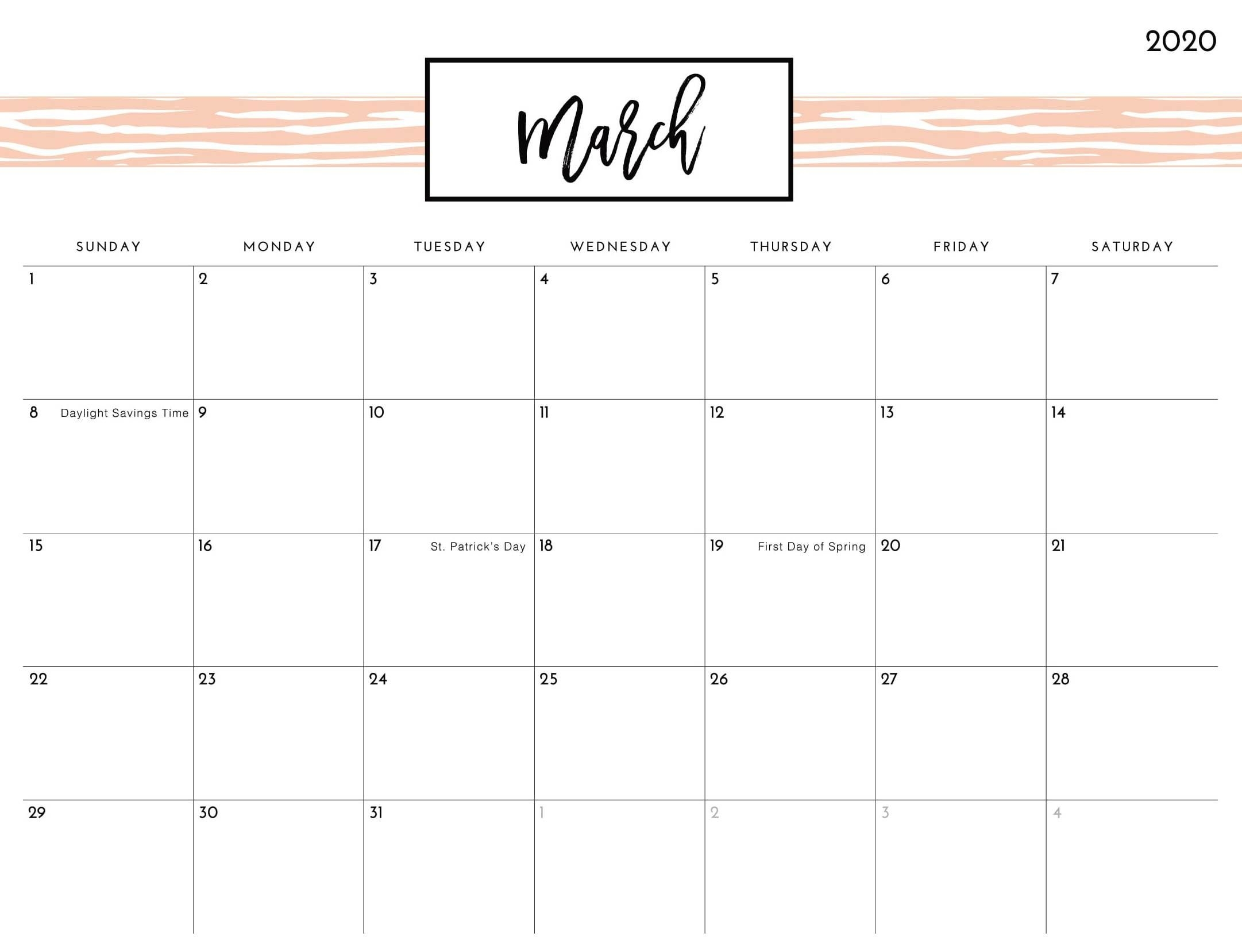 Cute March Calendar 2020 Printable Template Word - Set Your