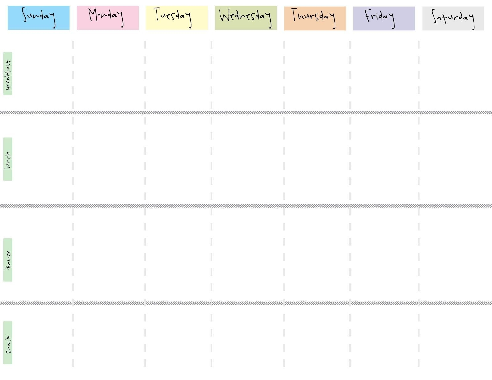 Cute Printable Blank Calendar Weekly Schedule | Weekly