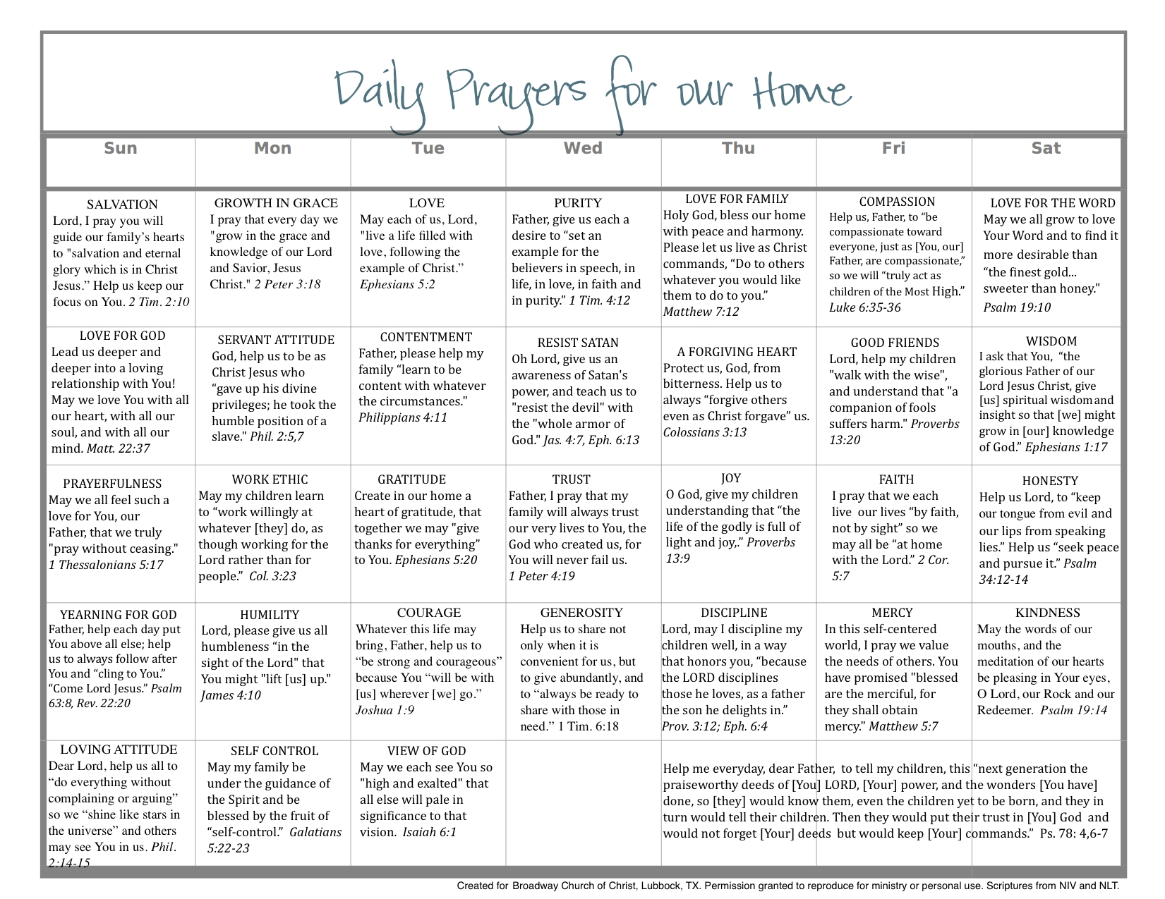 Daily Calendar To Pray Scripture For The Home … | Prayer For