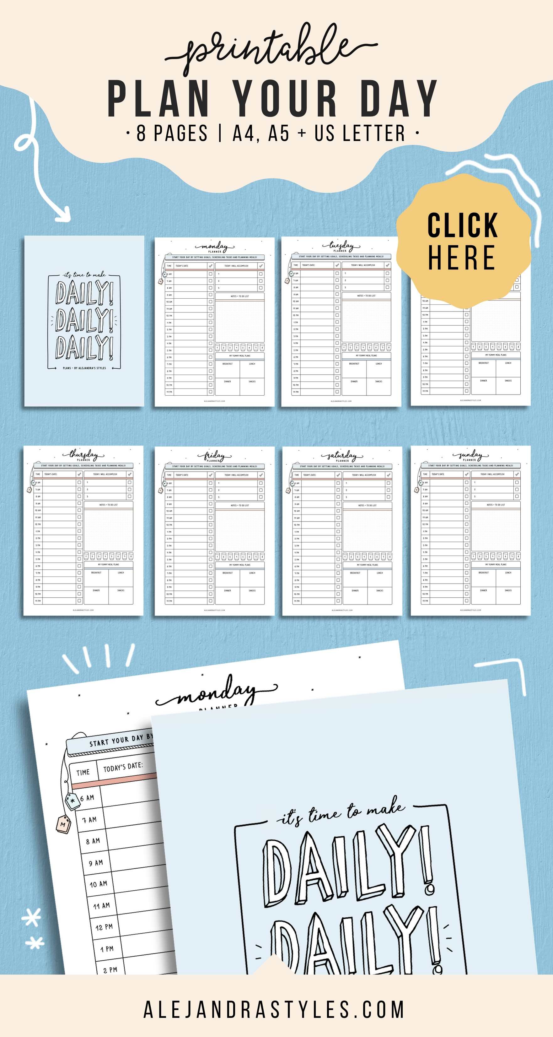 Daily Planner Printable, Daily Hourly Planner Pages Inserts