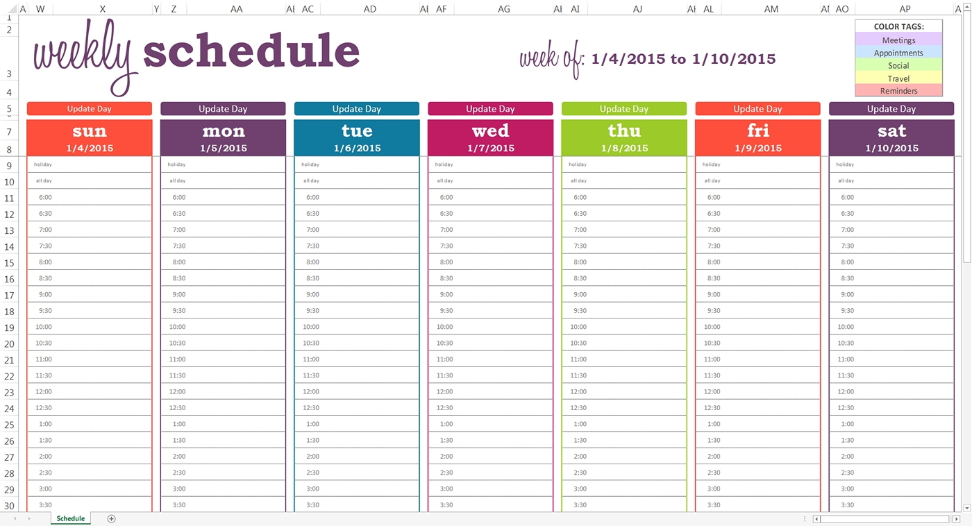 Daily Planner With Time Slots Template | Weekly Calendar