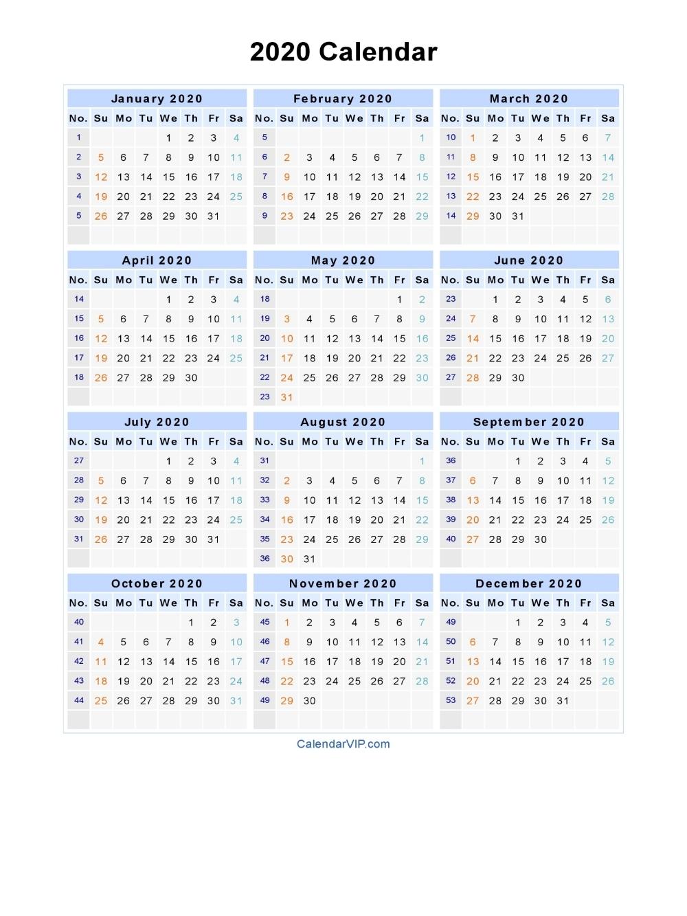 Dashing 2020 Calendar With Week Numbers   Printable Calendar