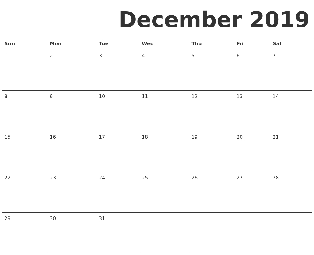 December 2019 Free Printable Calendar