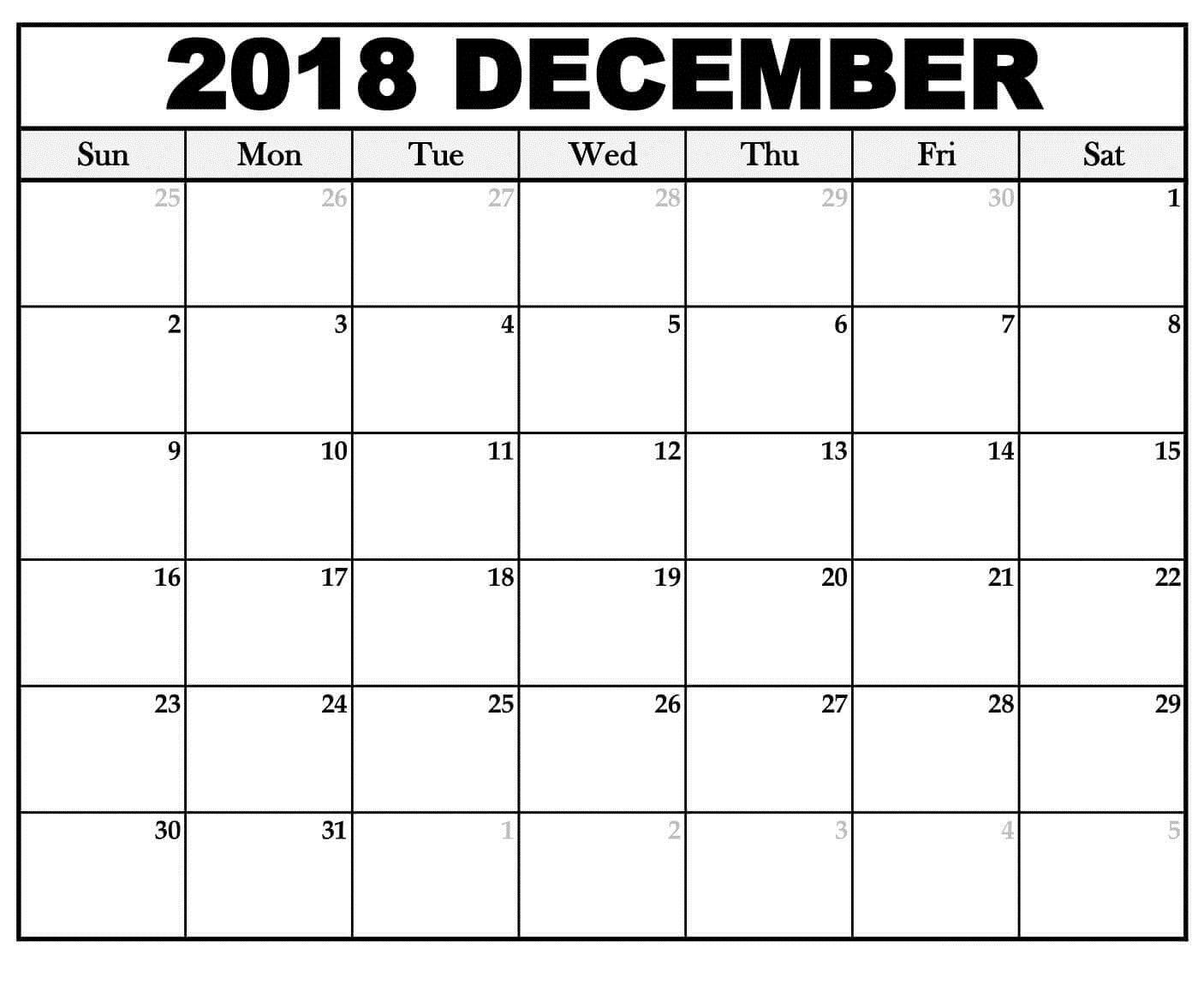 December Calendar 2018 For #landscape | Calendar 2019