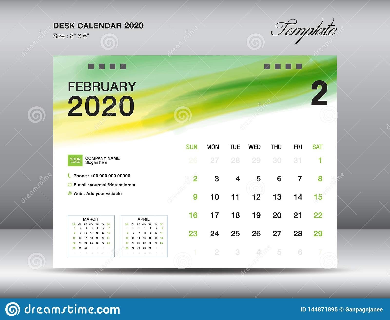 Desk Calendar 2020 Template Vector, February 2020 Month