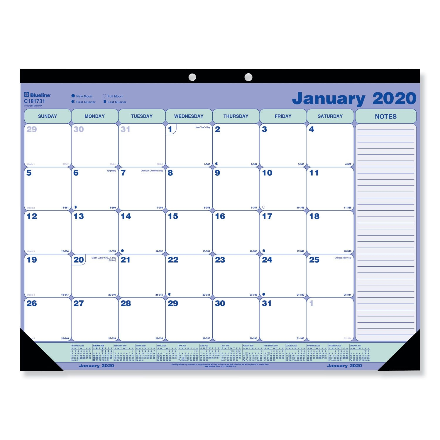 Desk Pad Calendar, 21.25 X 16, Blue/white/green, 2021