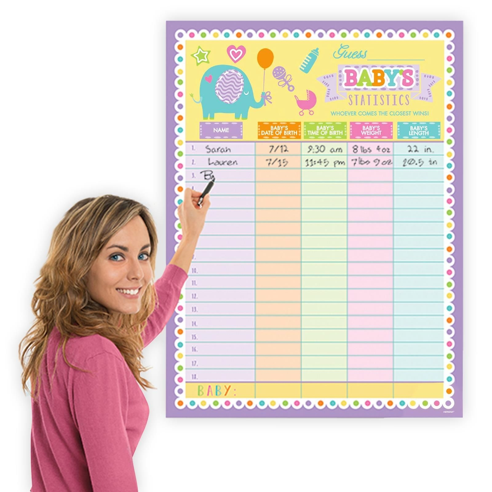 Details About 101Cm Baby Shower Statistics Guessing Game Activity Poster  With Party Tablecloth