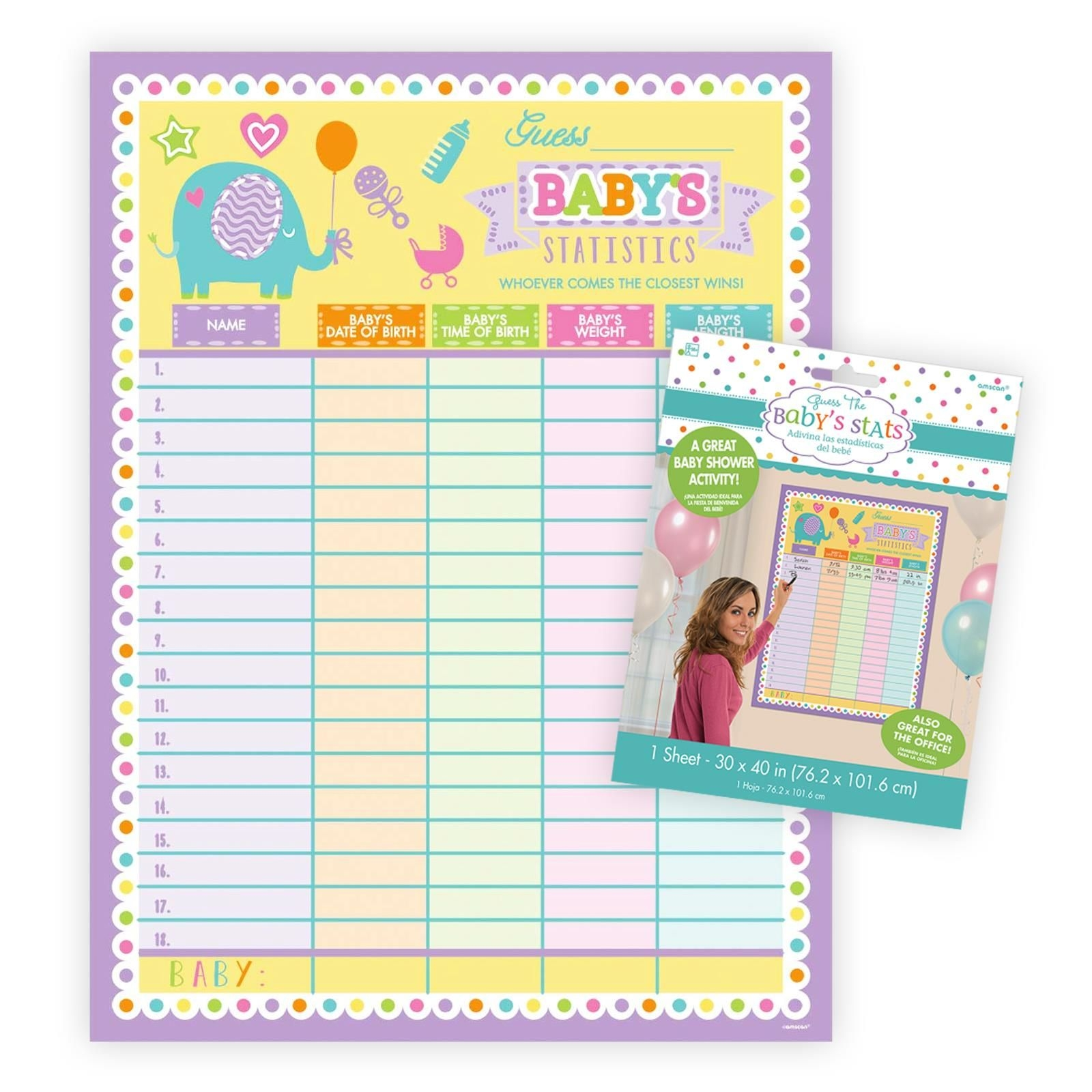 Details About Guess The Baby's Statistics Baby Shower Party Game Activity  Weight Date Poster