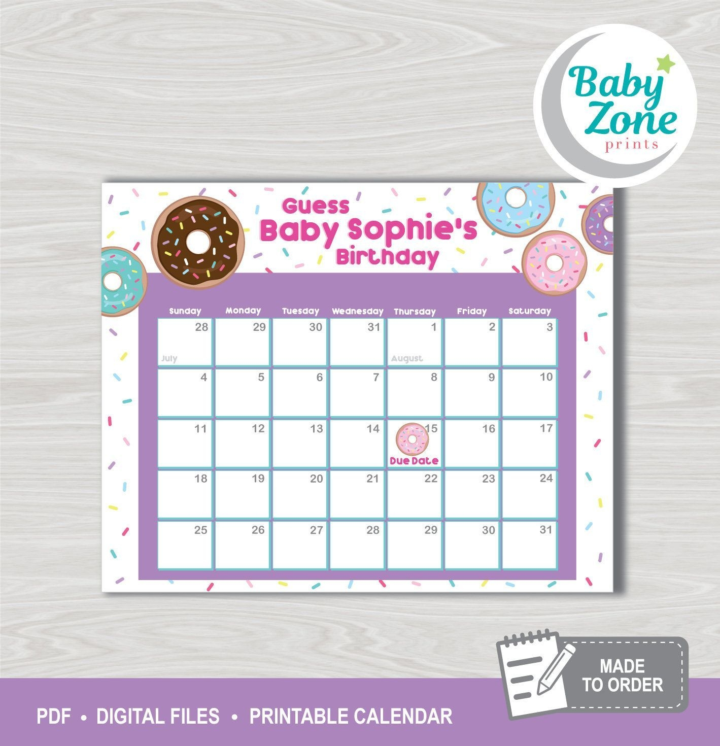 Donuts Baby Due Date Printable Prediction Calendar Guess The
