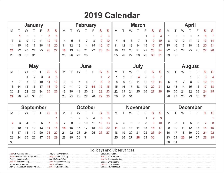 Download 2019 Printable Calendar (With Images)   Calendar
