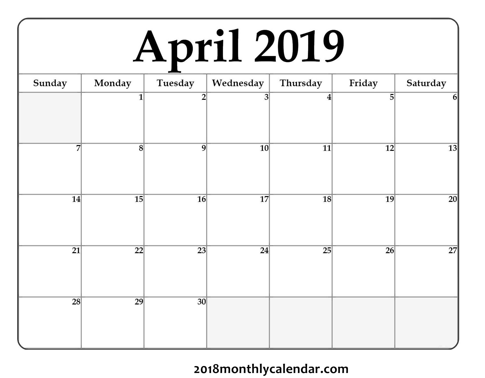 Download April 2019 - Printable Blank & Editable