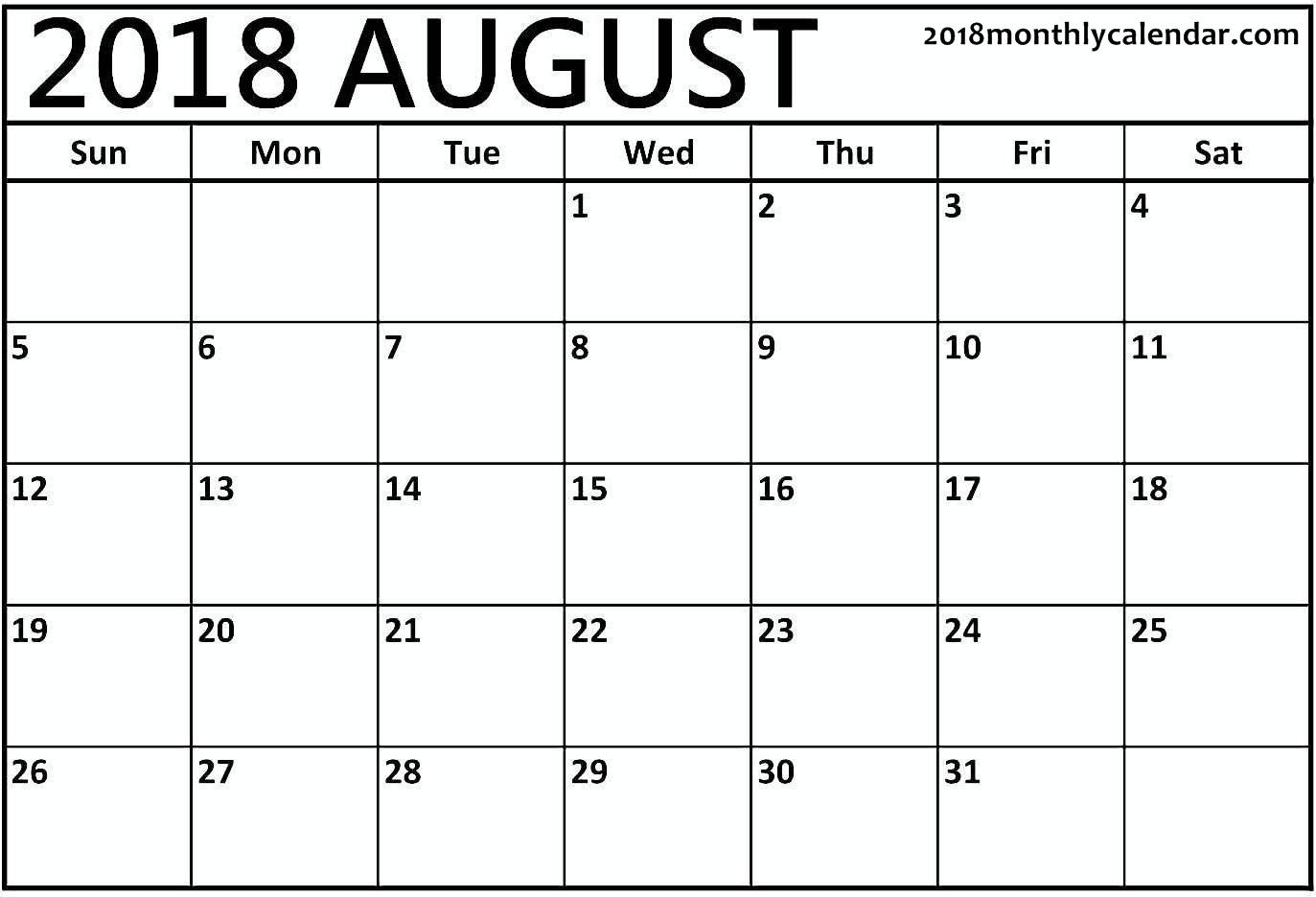 Download August 2018 - Printable Blank & Editable Calendar