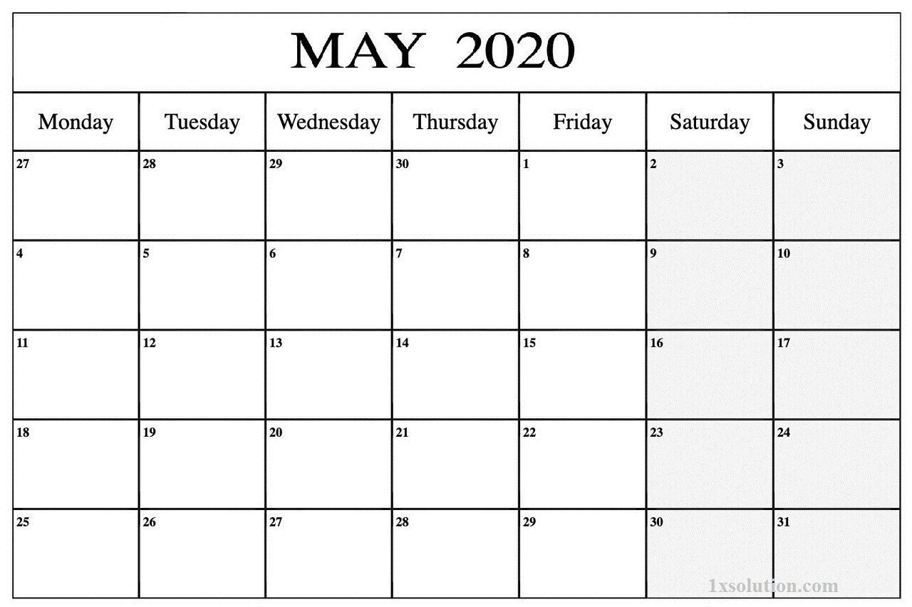 Download Blank May 2020 Calendar For Your Daily Schedule