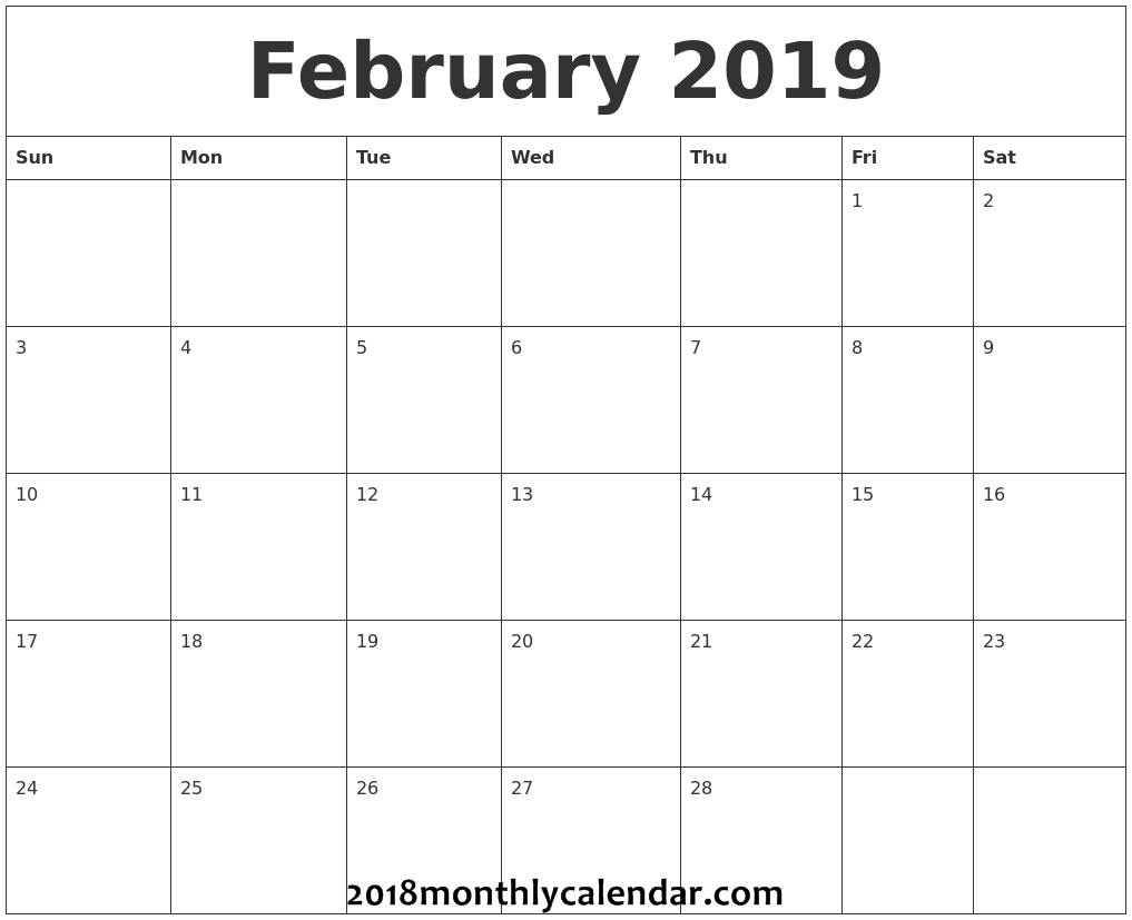 Download February 2019 - Printable Blank & Editable