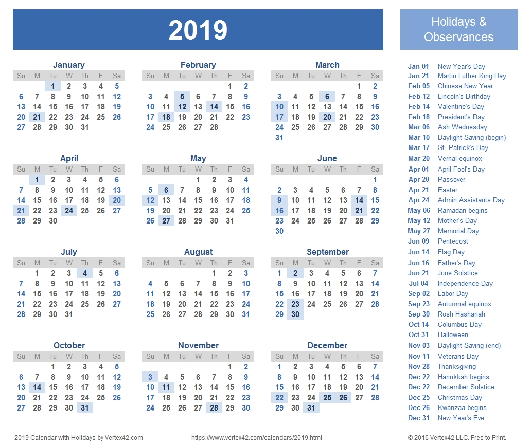 Download Free Printable 2019 Calendar Templates That You Can