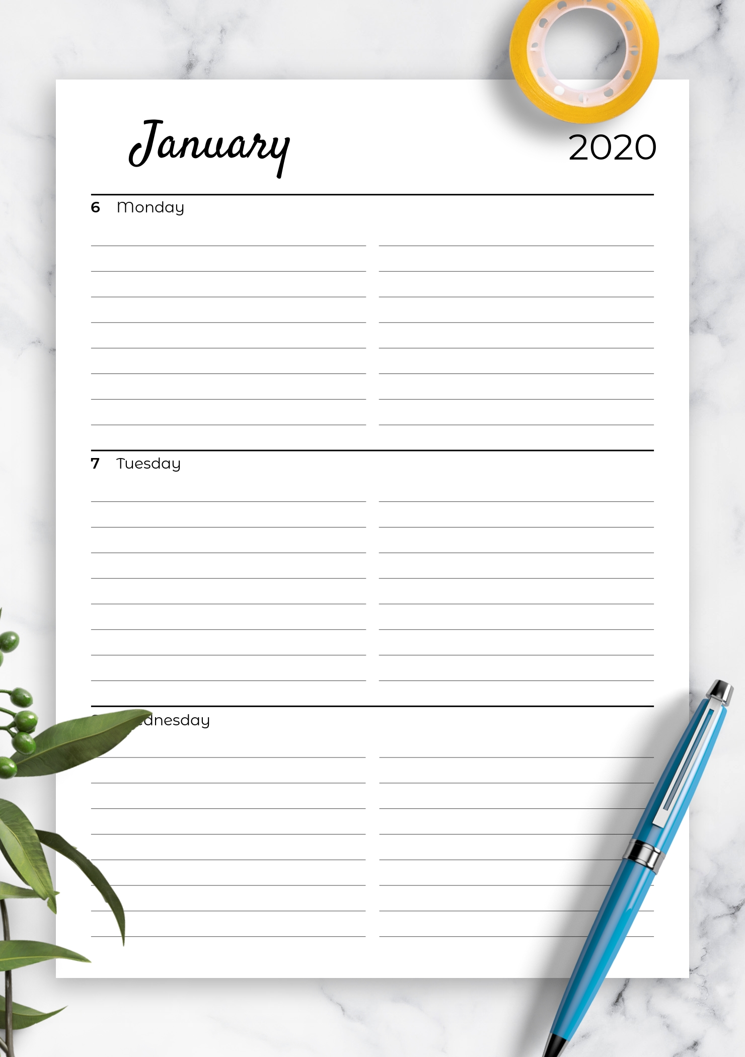 Download Printable Lined Weekly Planner With Calendar Pdf