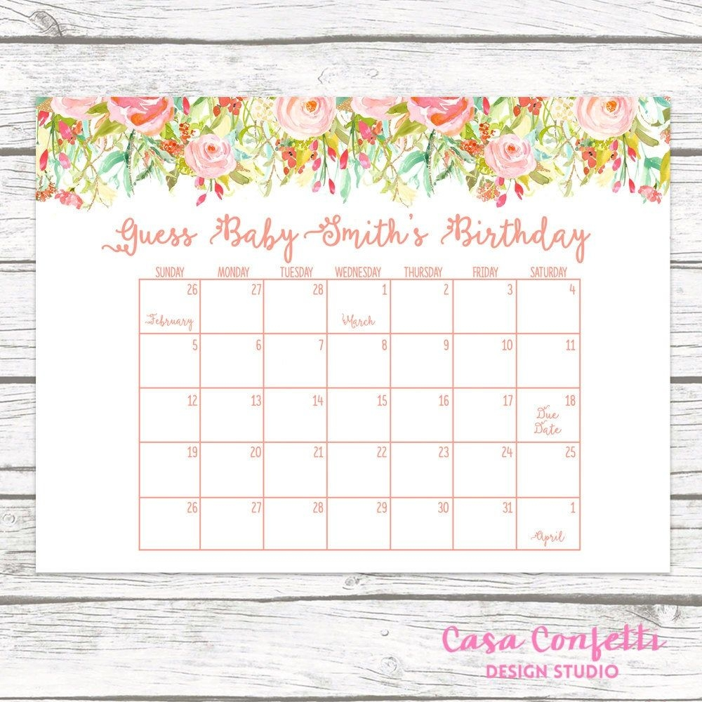 Due Date Calendar, Guess Baby's Due Date, Baby Shower