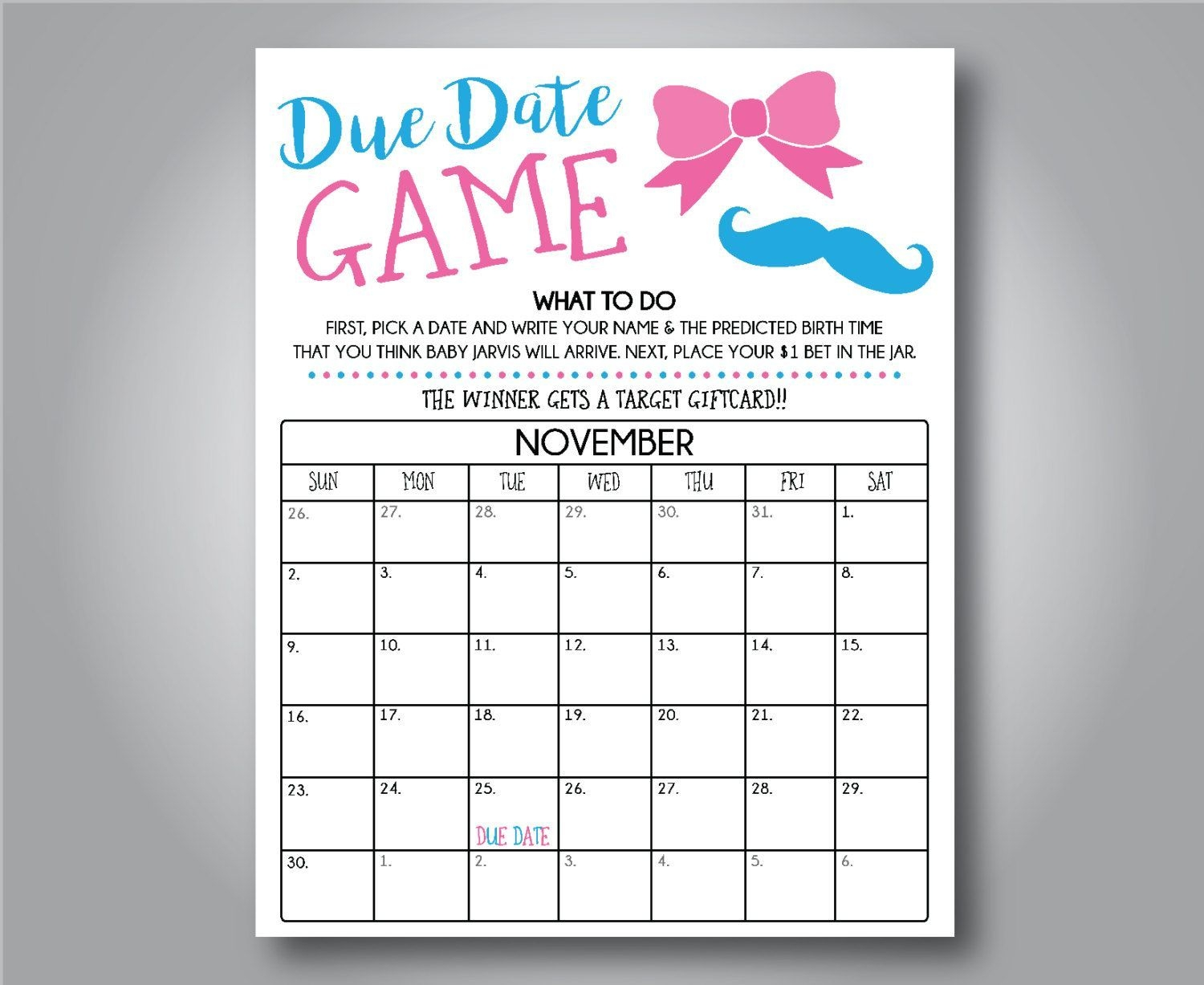 Due Date Game 16X20 Poster File, , Gender Reveal Party