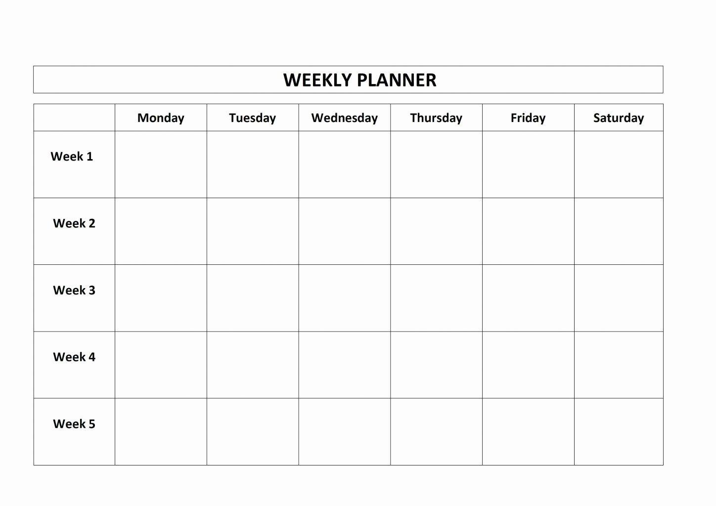 √ 30 Monday Through Sunday Schedule Template (2020