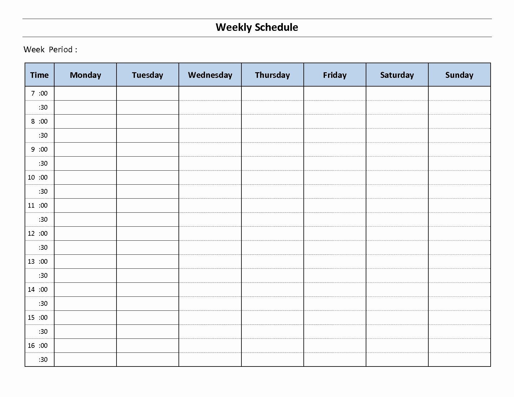 √ 30 Monday Through Sunday Schedule Template In 2020