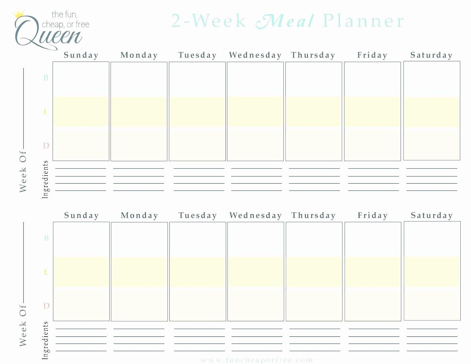√ 30 Two Week Meal Planner Template In 2020 | Calendar