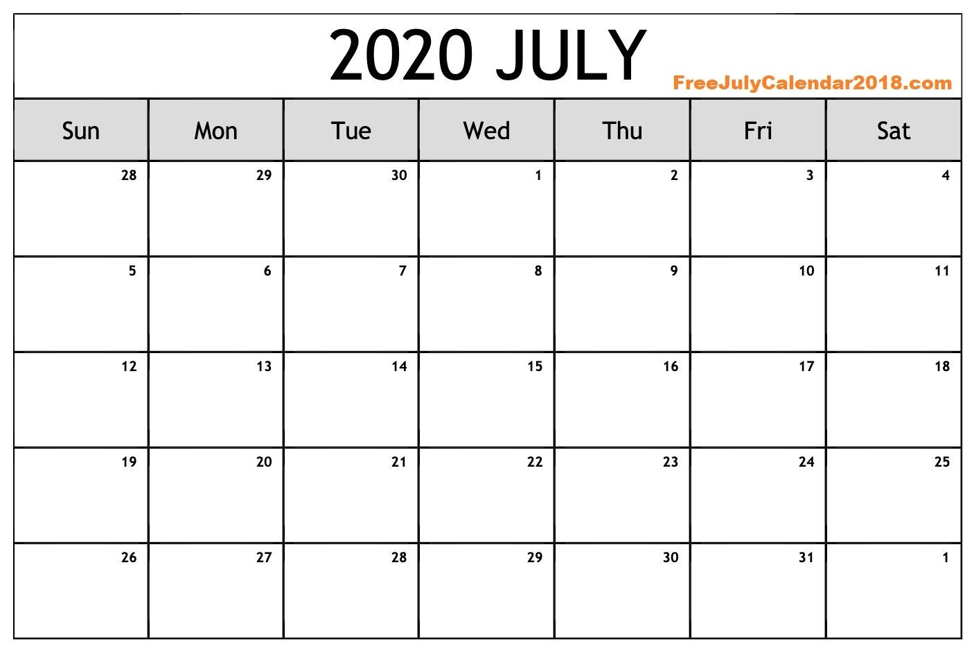 ✅ {60+} Free July 2020 Calendar Printable Blank Templates