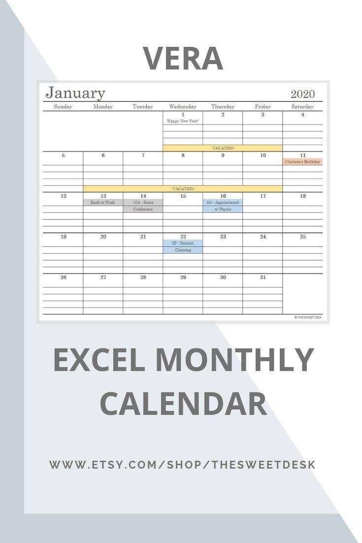 Editable 2020 Excel Calendar Template | Printable Minimalist