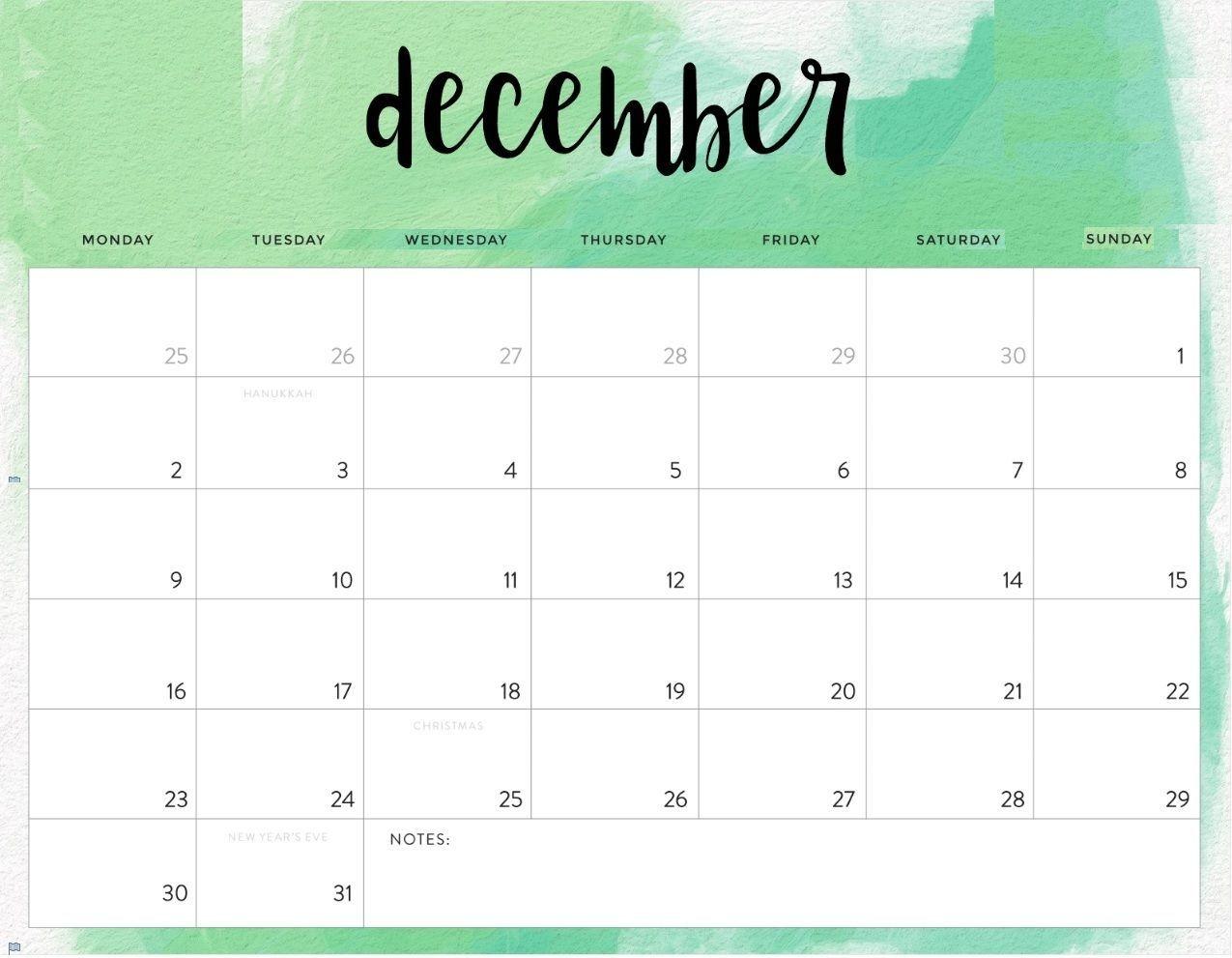 Editable December 2019 Calendar | Editable Calendar