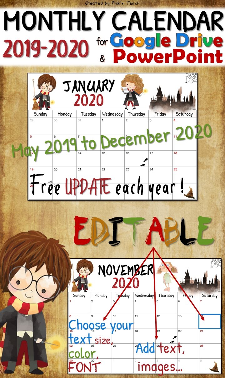 Editable Harry Potter Planner 2019 & 2020 - Free Updates