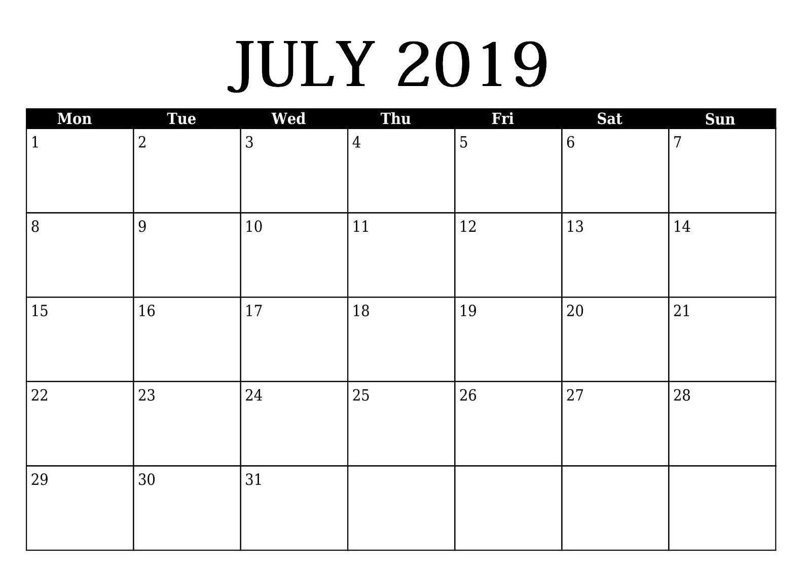 Editable July 2019 Calendar Template | 2019 Calendar
