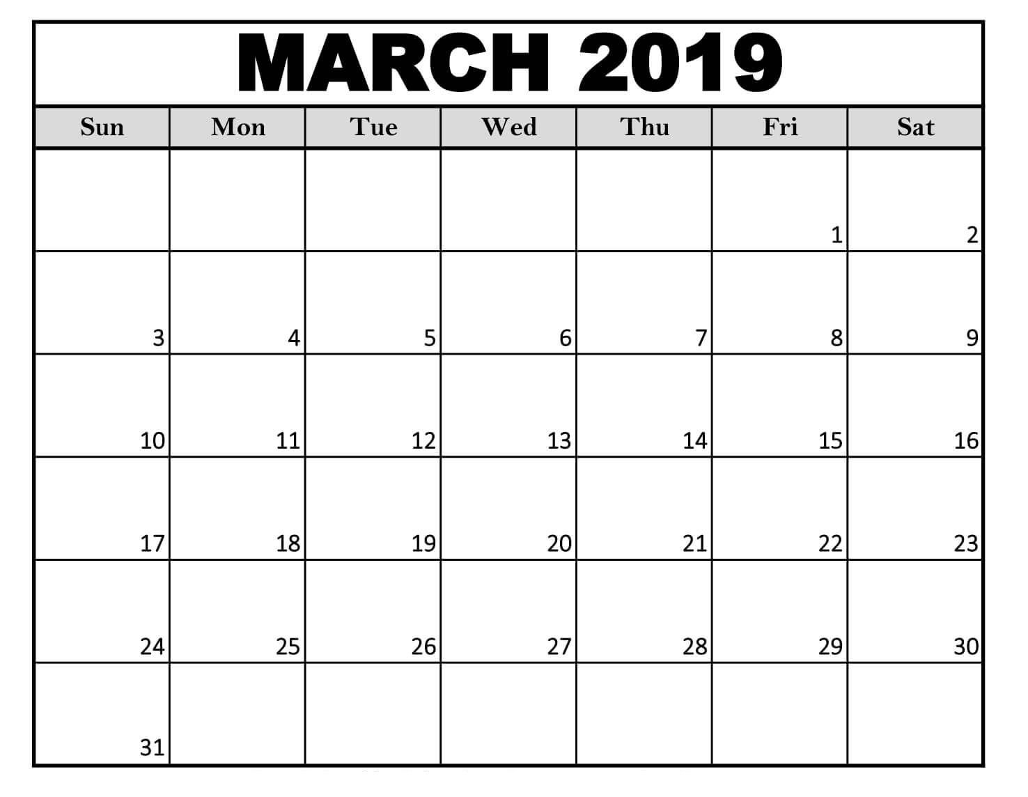 Editable March 2019 Calendar Free Download (With Images