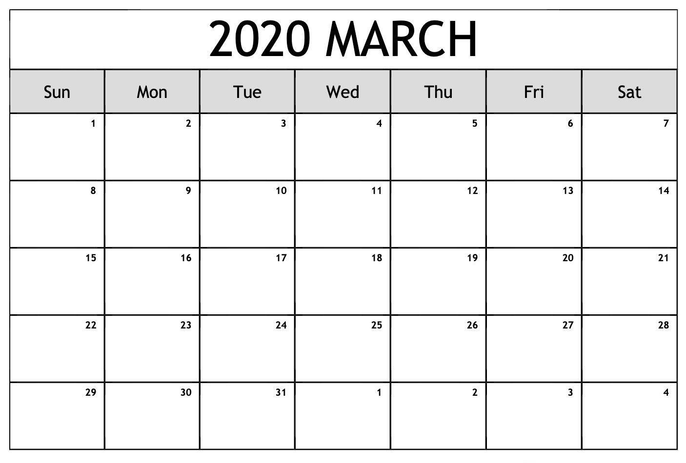 Editable March 2020 Calendar In 2020 | February Calendar