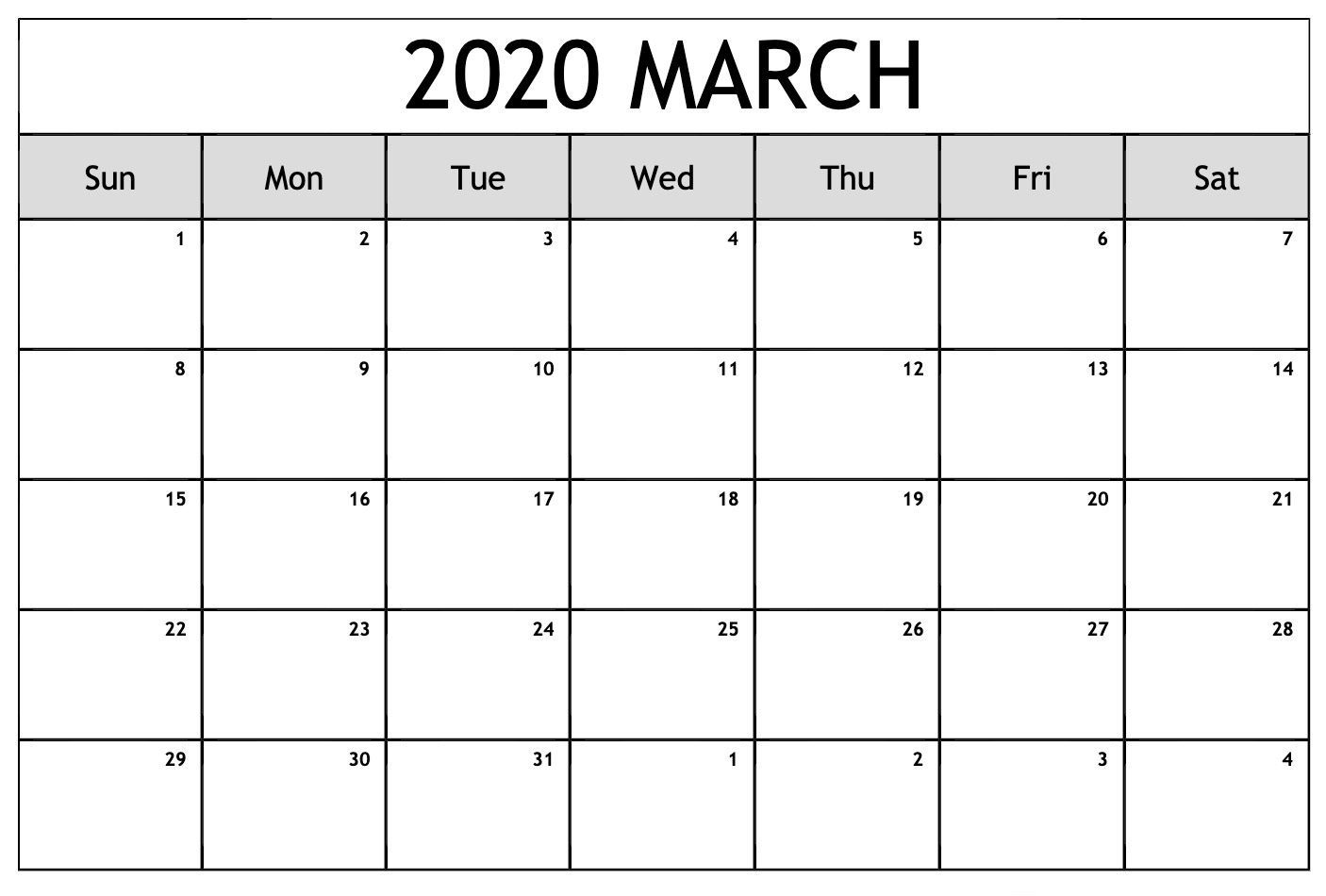 Editable March 2020 Calendar In 2020 | February Calendar