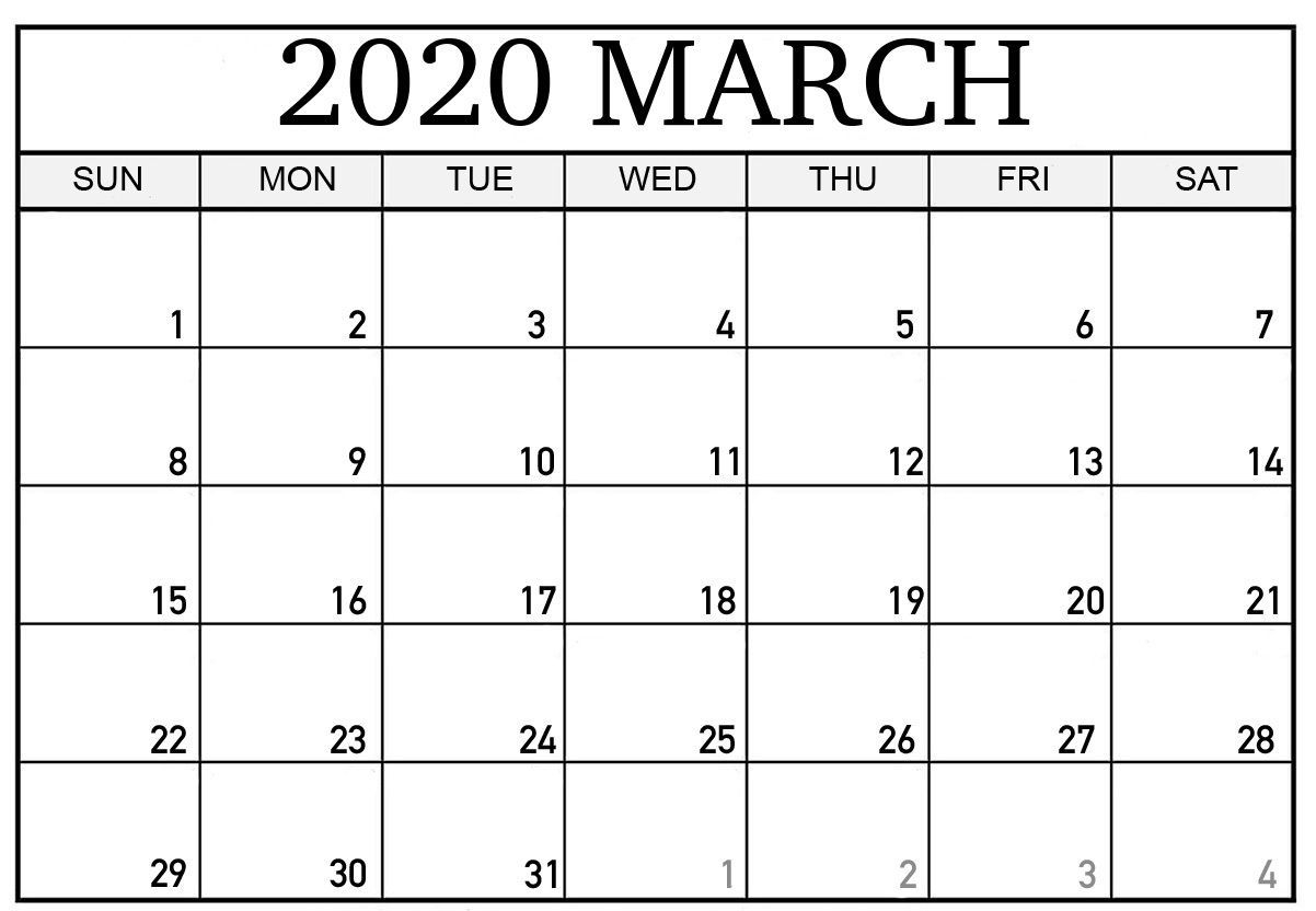 Editable March 2020 Calendar To Print Pdf Word Blank