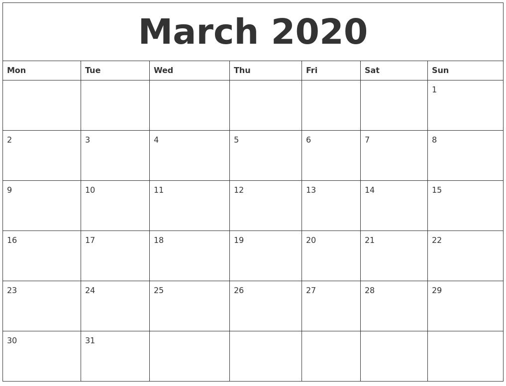 Editable March 2020 Calendar To Print Pdf Word Blank