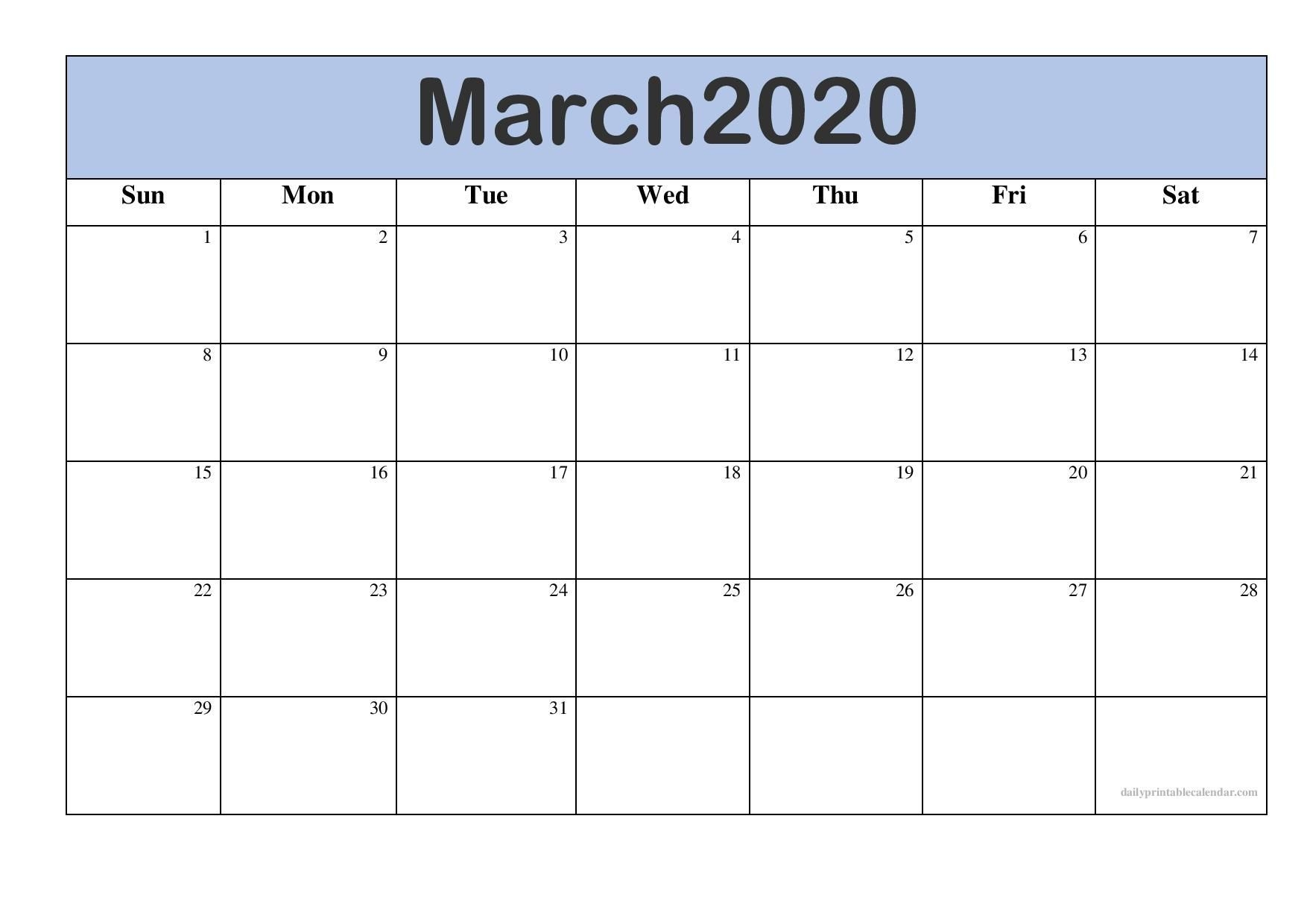 Editable March 2020 Printable Calendar Template With Notes