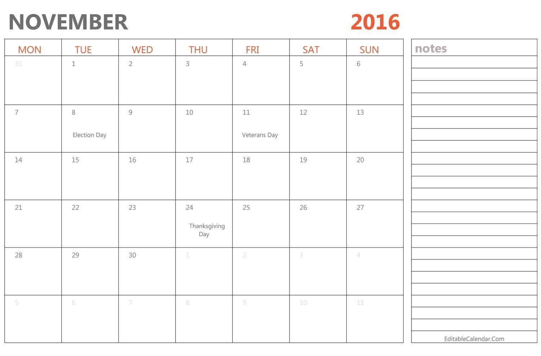 Editable November 2016 Calendar With Holidays