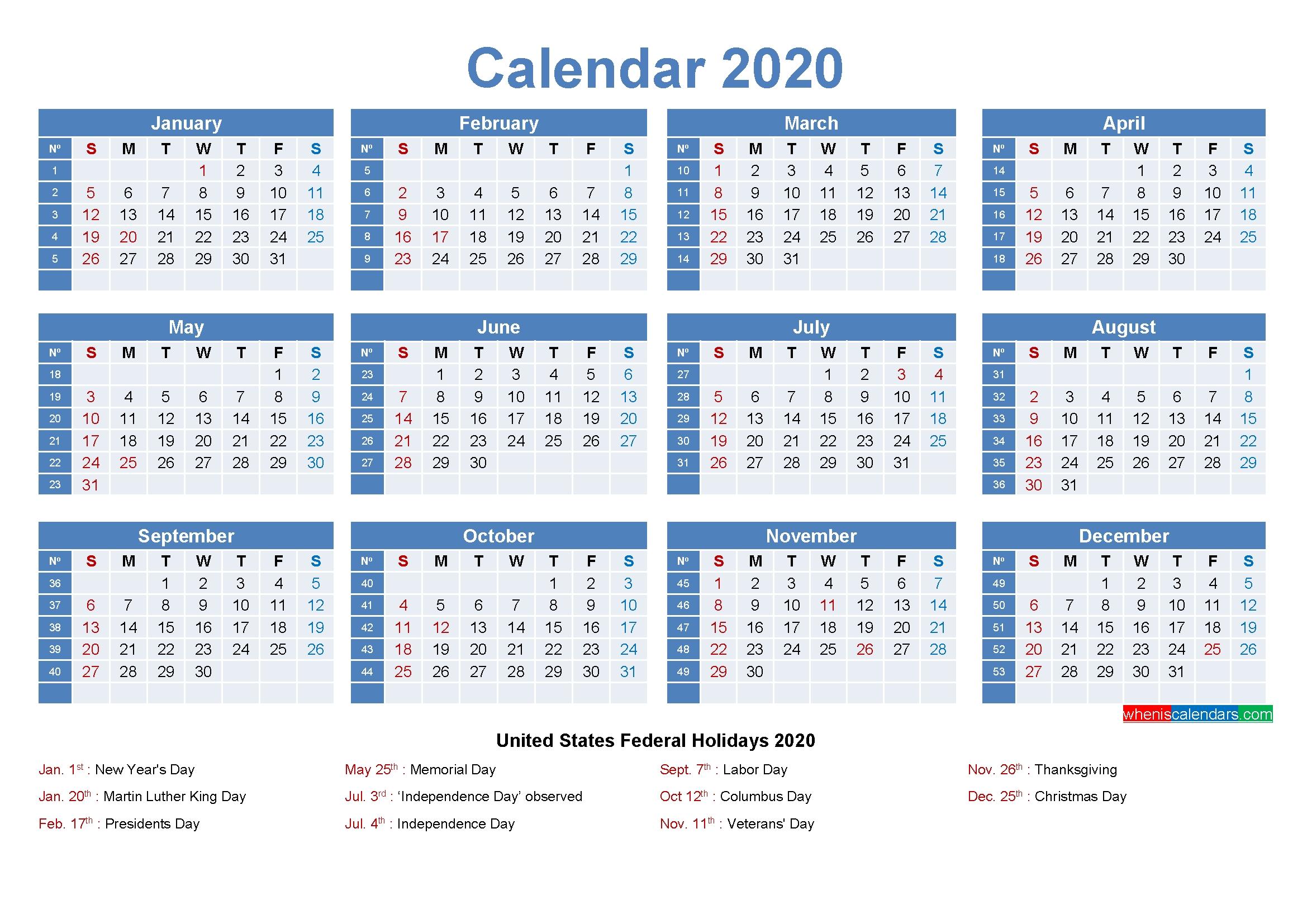 Editable Printable Calendar 2020 Word - Template No.ep20Y8