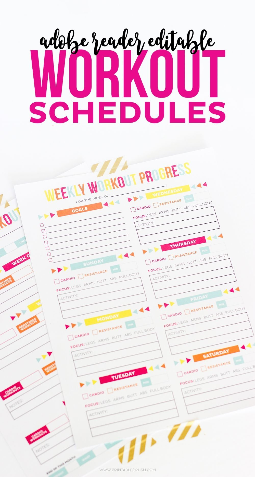 Editable Printable Workout Schedule (With Images