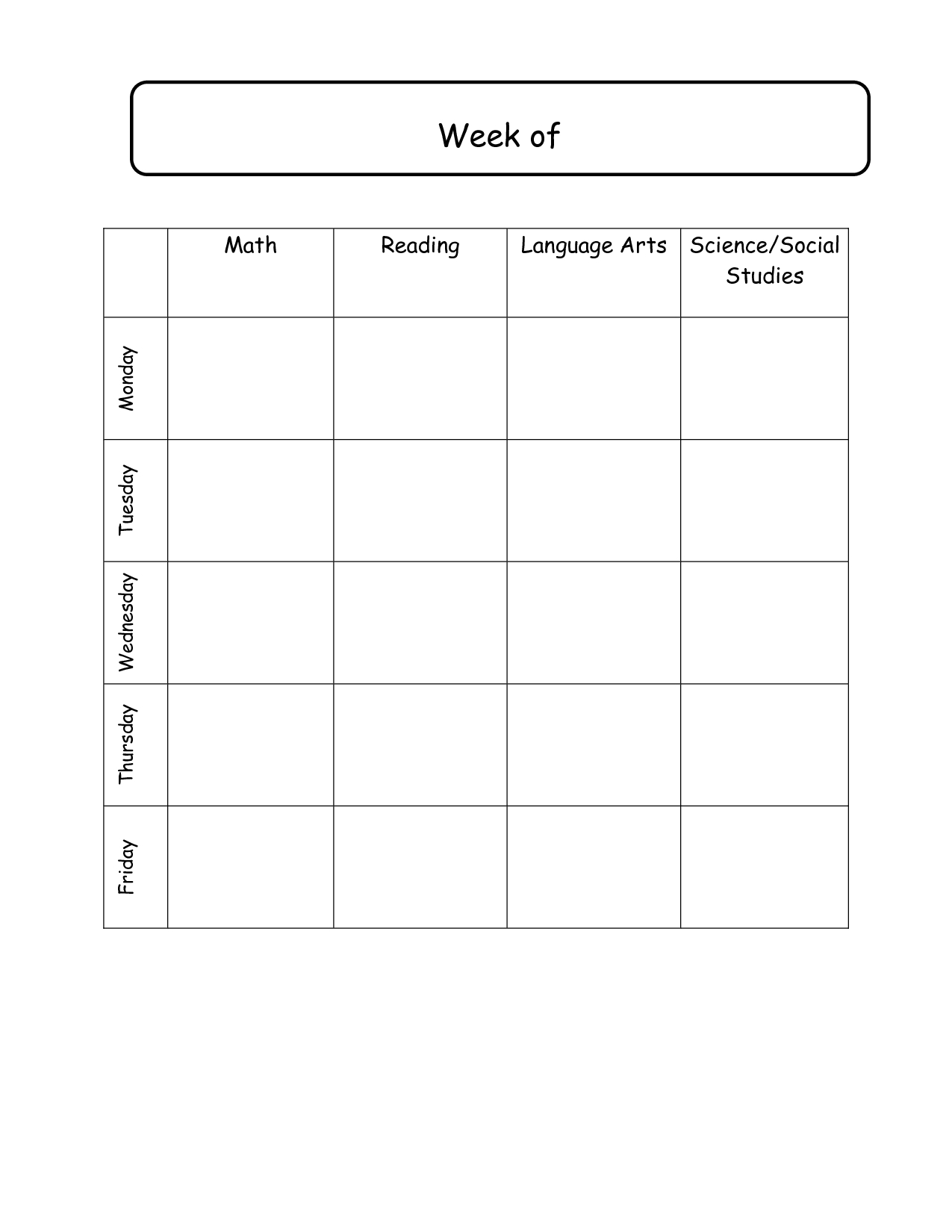 Elementary School Daily Schedule Template | Weekly Lesson