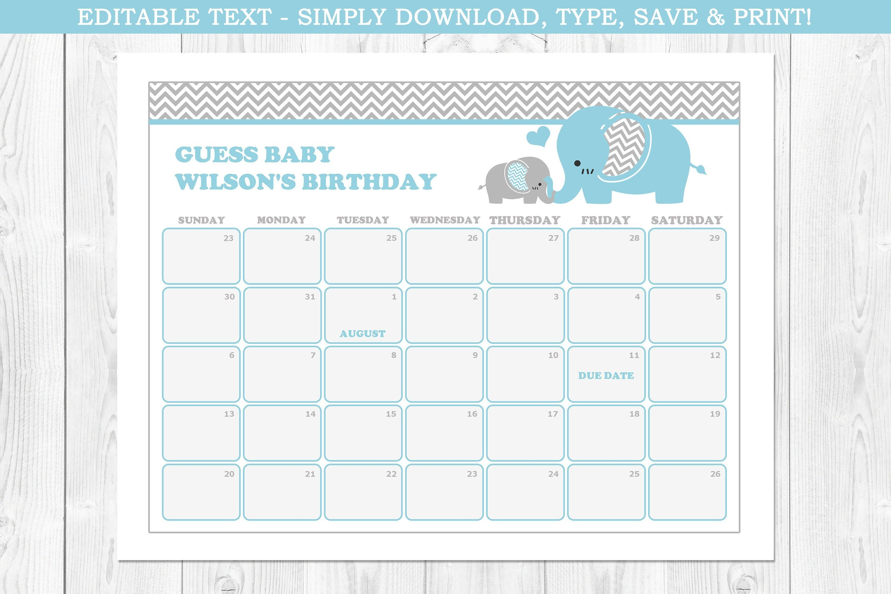 Elephant Baby Due Date Calendar, Elephant Baby Shower, Blue