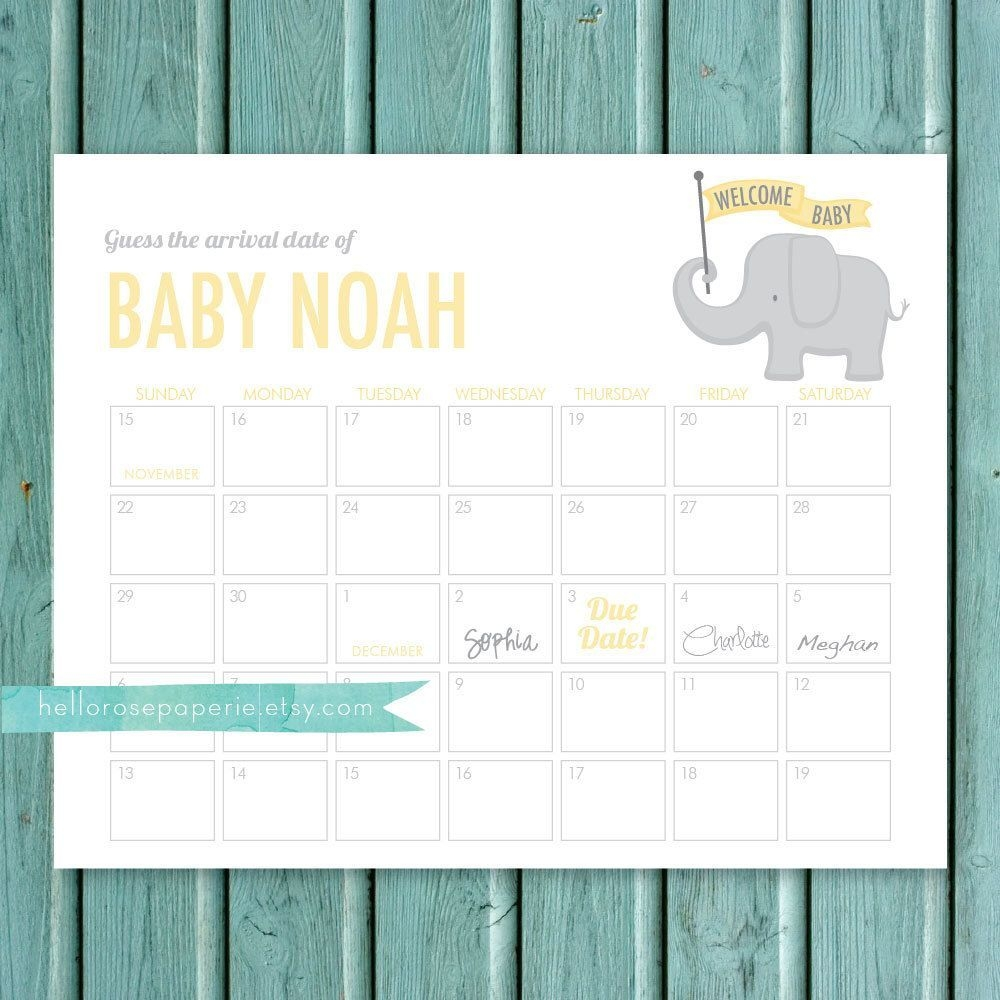 Elephant Guess The Due Date Calendar Game . Pink And Gold