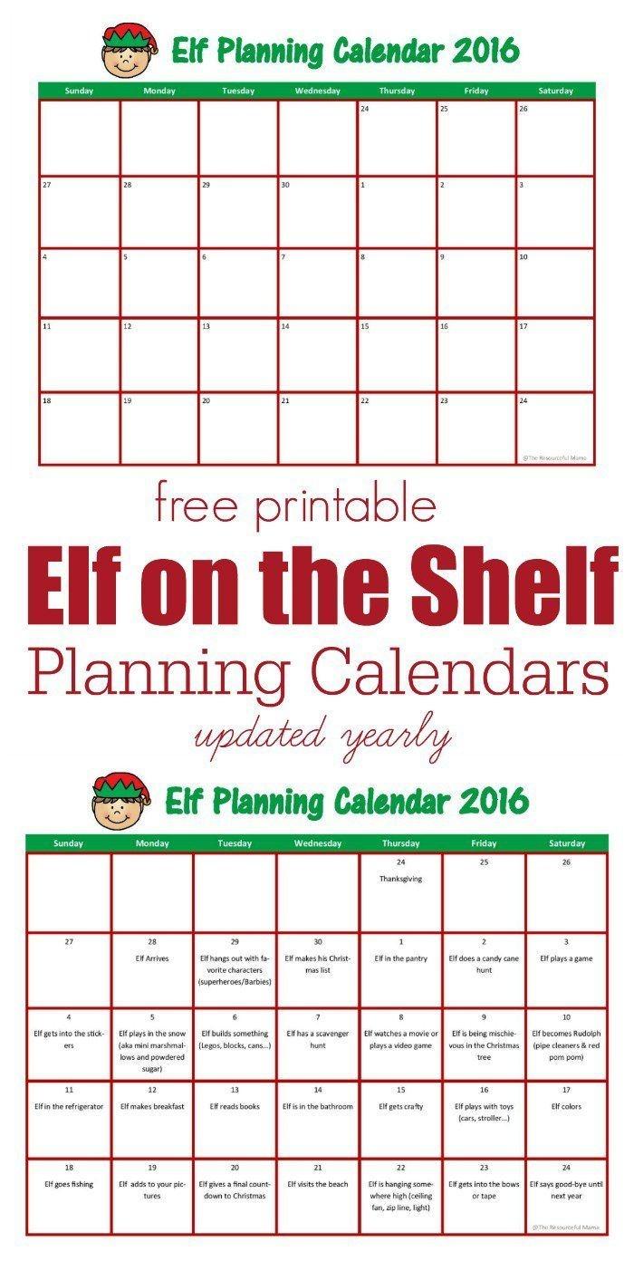 Elf On The Shelf Planning Calendar   Elf On The Shelf, Elf